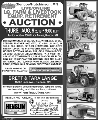Live/Online LG. Farm & Livestock Equipment. Retirement Auction