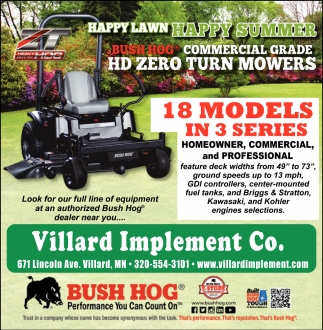 18 Models in 3 Series, Villard Implement Co, Villard, MN