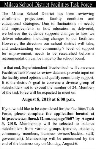 Milaca School District Facilities Task Force