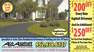 Specialist in Twin Cities Residential Driveways & Parking Lots for 30 Years