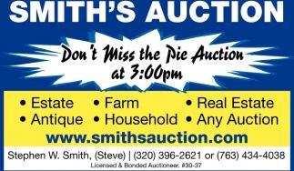 Don't Miss the Pie Auction