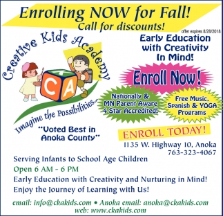 Now Enrolling for Fall!