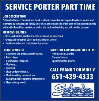 Service Porter Part Time