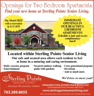 Located within Sterling Pointe Senior Living