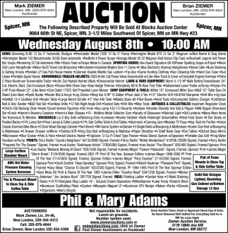 Auction Wednesday August 8st