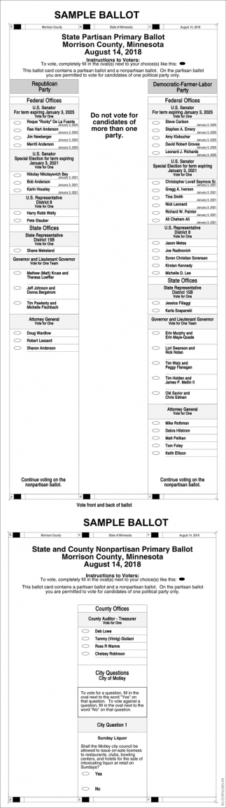 State Partisan P¨rimary Ballot