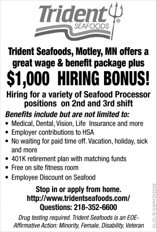 Hiring for a Variety of Seafood Processor Positions