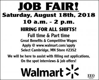 Job Fair Walmart Cambridge Cambridge Mn