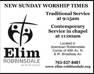 New Sunday Worship Times