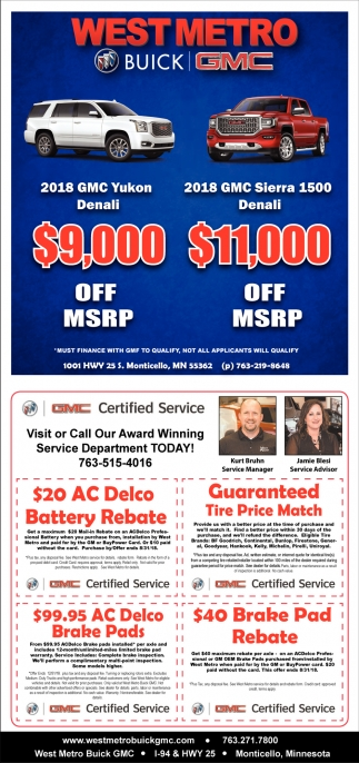 Visit or Call Our Award Winning Service Department Today!