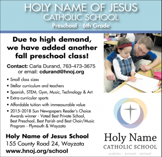 Due to High Demand, We Have Added Another Fall Preschool Class!
