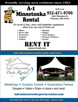 Rent It, Minnetonka A-1 Rental & Lake Minnetonka Party Rental