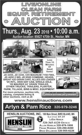 Clean Farm Equip. Retirement Auction