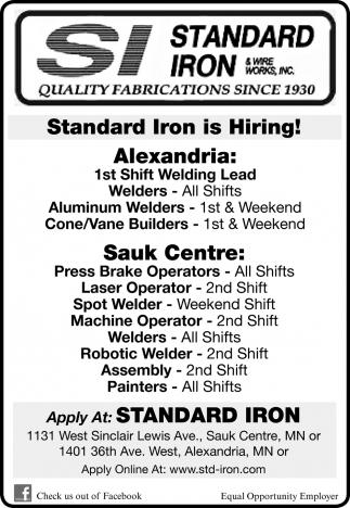 Standard Iron is Hiring!
