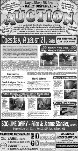 Large, Albany, MN Area Dairy Dispersal Auction