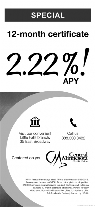 12-Month Certificate 2.22% APY!