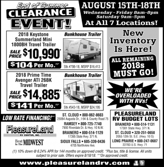 End of Summer Clearance Event!