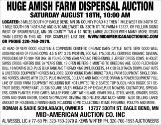 Huge Amish Farm Dispersal Auction