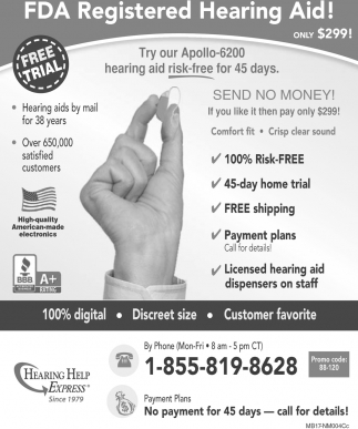 FDA Registered Hearing Aid!