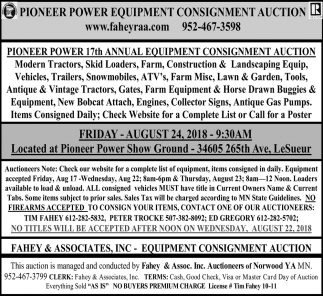 Pioneer Power Equipment Consignment Auction