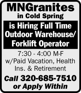 Hiring Full Time Outdoor Warehouse Forklift Operator Mark