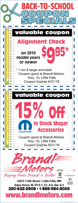 Back to School Coupon Specials