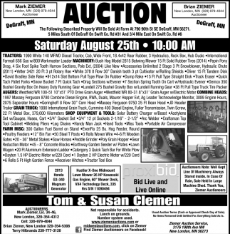 Auction Saturday August 25th