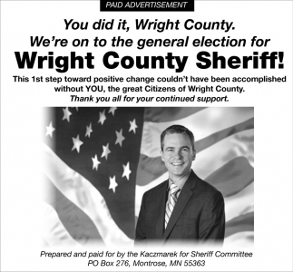 We're on to the General Election for Wright County Sheriff!