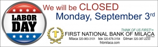 We Will be Closed Monday, September 3rd