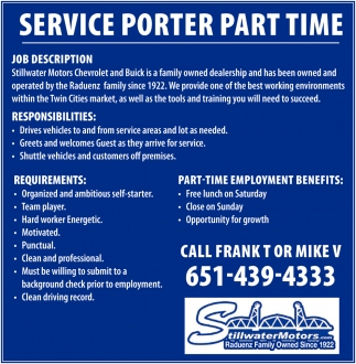 service porter part time stillwater motors company stillwater mn