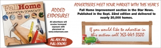 Advertisers Meet Your Market with this Year's Fall Home Improvement Section in the Star News
