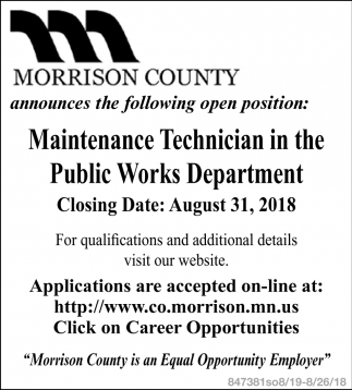 Maintenance Technician in the Public Works Department