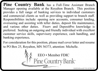 Full-Time Assistant Branch Manager Opening Available