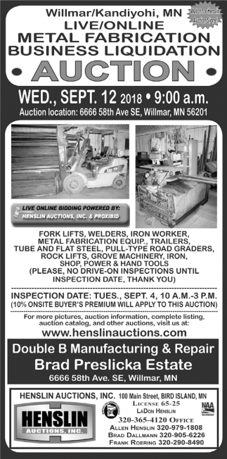 Live/Online Metal Fabrication Business Liquidation Auction