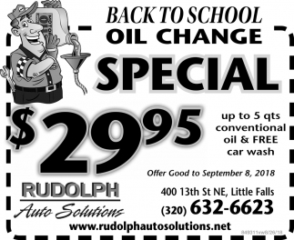 Back to School Oil Change Special