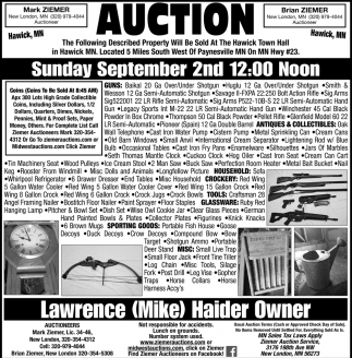 Auction Sunday, September 2nd
