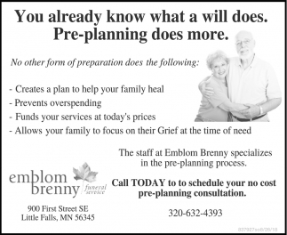 The Staff at Emblom Brenny Specializes in the Pre-Planning Process