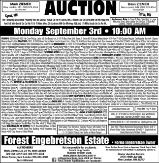 Auction Monday, September 3rd