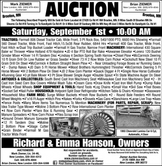 Auction Saturday, September 1st