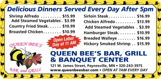 Delicious Dinners Served Every Day After 5pm