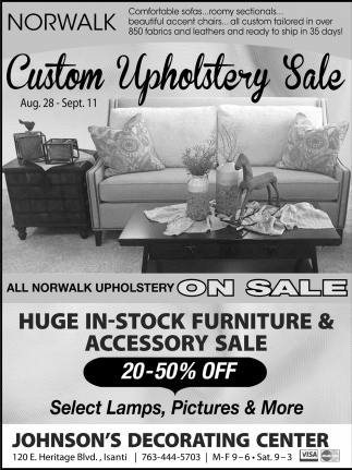 Custom Upholstery Sale Johnsons Decorating Center Isanti Mn