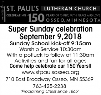 Super Sunday Celebration September 9, 2018
