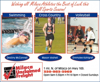 Wishing All Milaca Athletes the Best of Luck this Fall Sports Season!
