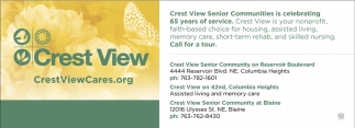 Crest View Senior Communities is Celebrating 65 Years of Service