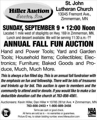 Annual Labor Day Auction