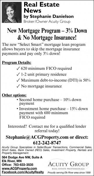New Mortgage Program - 3% Down & No Mortgage Insurance!