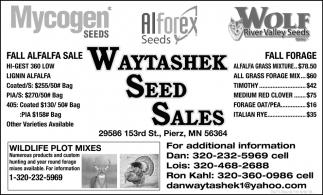 Fall Alfalfa Sale