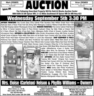 Auction Wednesday, September 5th