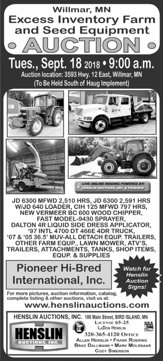 Excess Inventory Farm and Seed Equipment Auction