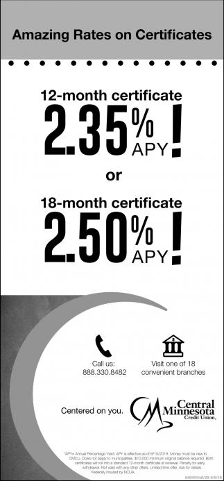Amazing Rates on Certificates